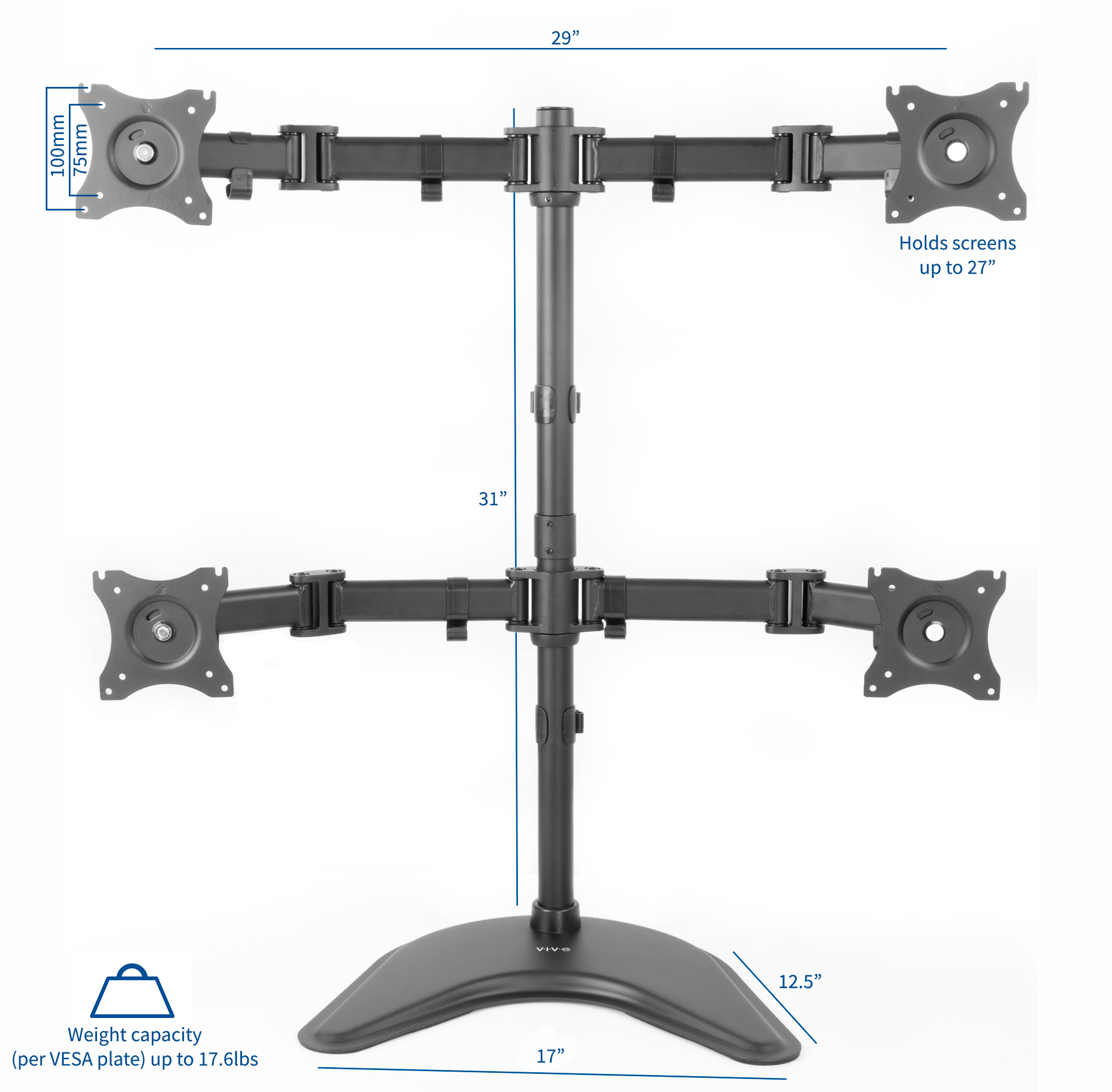 """USED Quad Monitor Mount Adjustable Desk Free Stand for 4 LCD Screens up to 27/"""""""